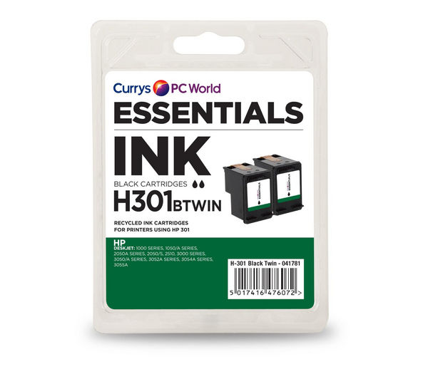 ESSENTIALS H301 Black HP Ink Cartridge - Twin Pack