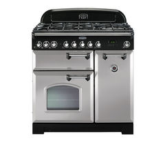 RANGEMASTER Classic Deluxe 90 Dual Fuel Range Cooker - Royal Pearl & Chrome
