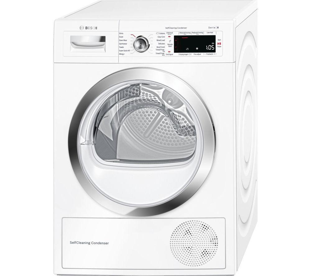 Bosch BOSCH  WTWH7560GB Heat Pump Smart Tumble Dryer - White, White