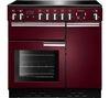 RANGEMASTER Professional+ 90 Electric Ceramic Range Cooker - Cranberry & Chrome