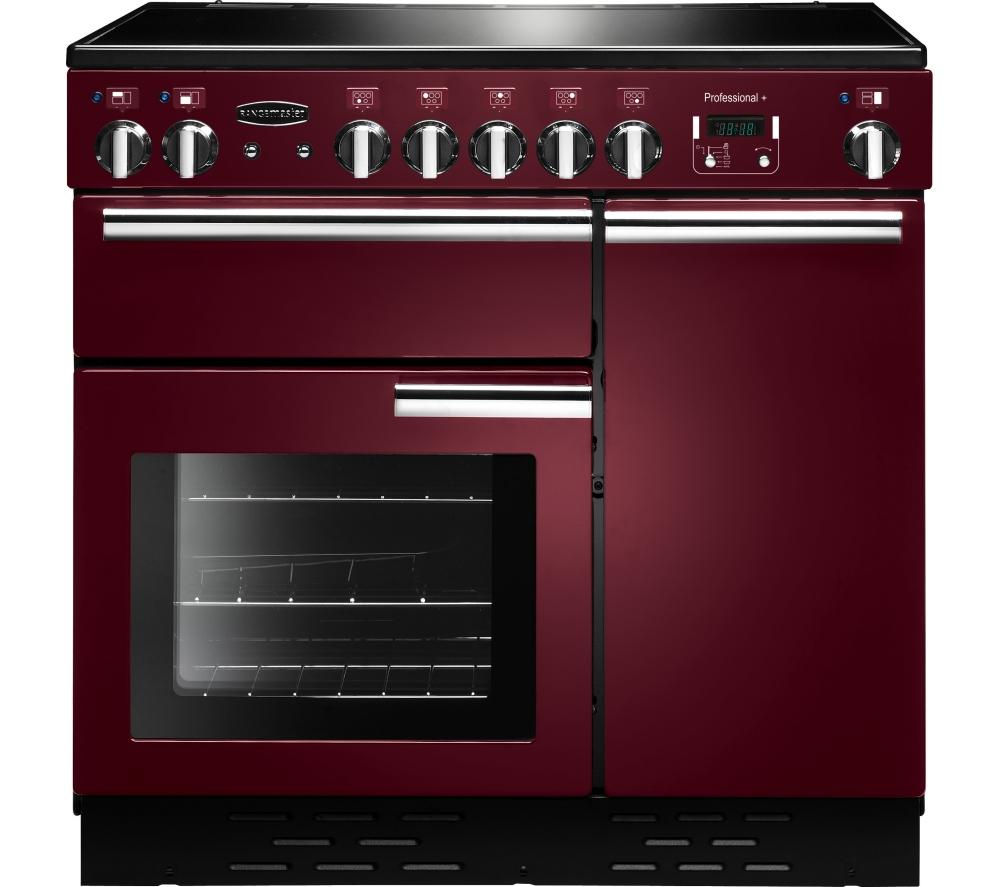 RANGEMASTER  Professional 90 Electric Ceramic Range Cooker  Cranberry & Chrome Cranberry