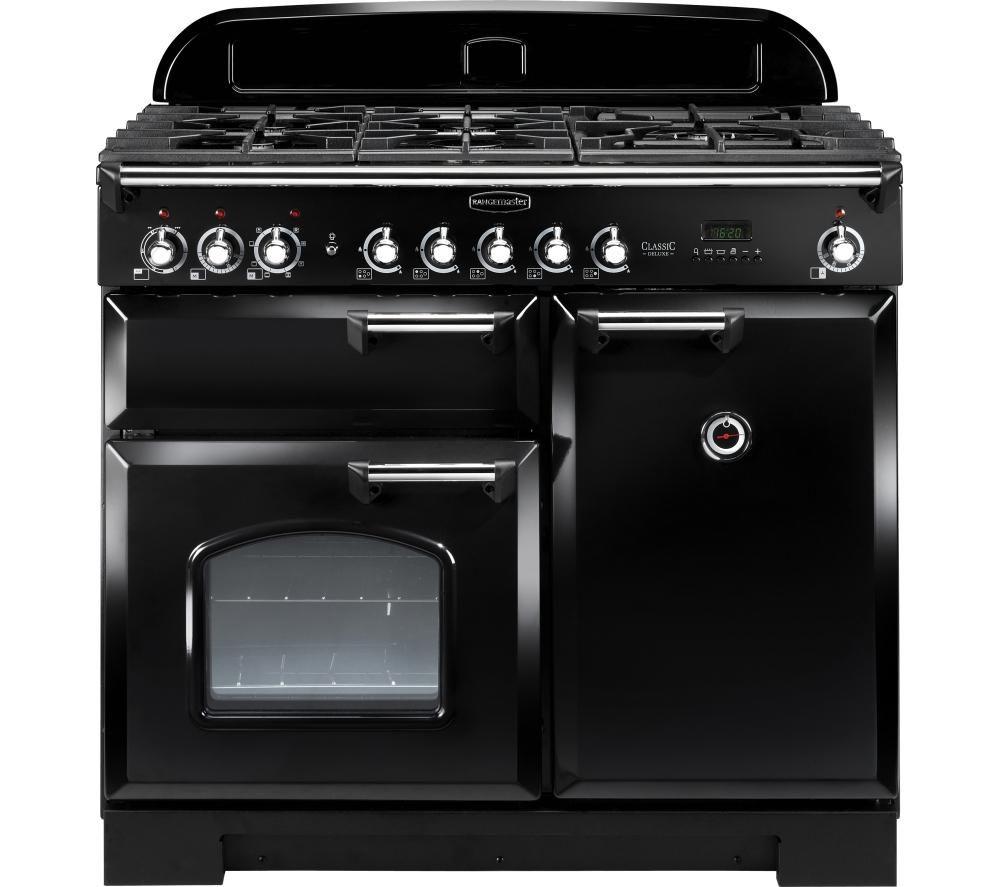 RANGEMASTER Classic Deluxe 100 Dual Fuel Range Cooker - Black & Chrome