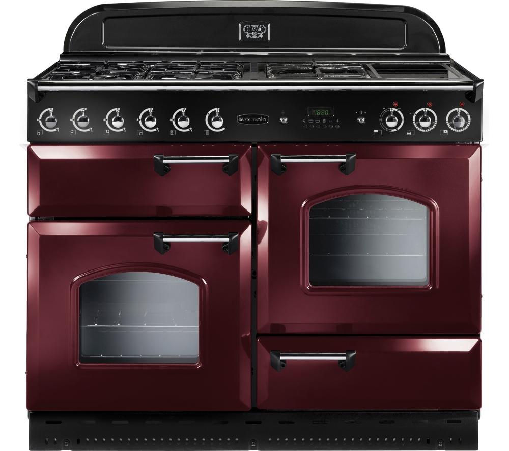 RANGEMASTER  Classic 110 Dual Fuel Range Cooker  Cranberry & Chrome Cranberry