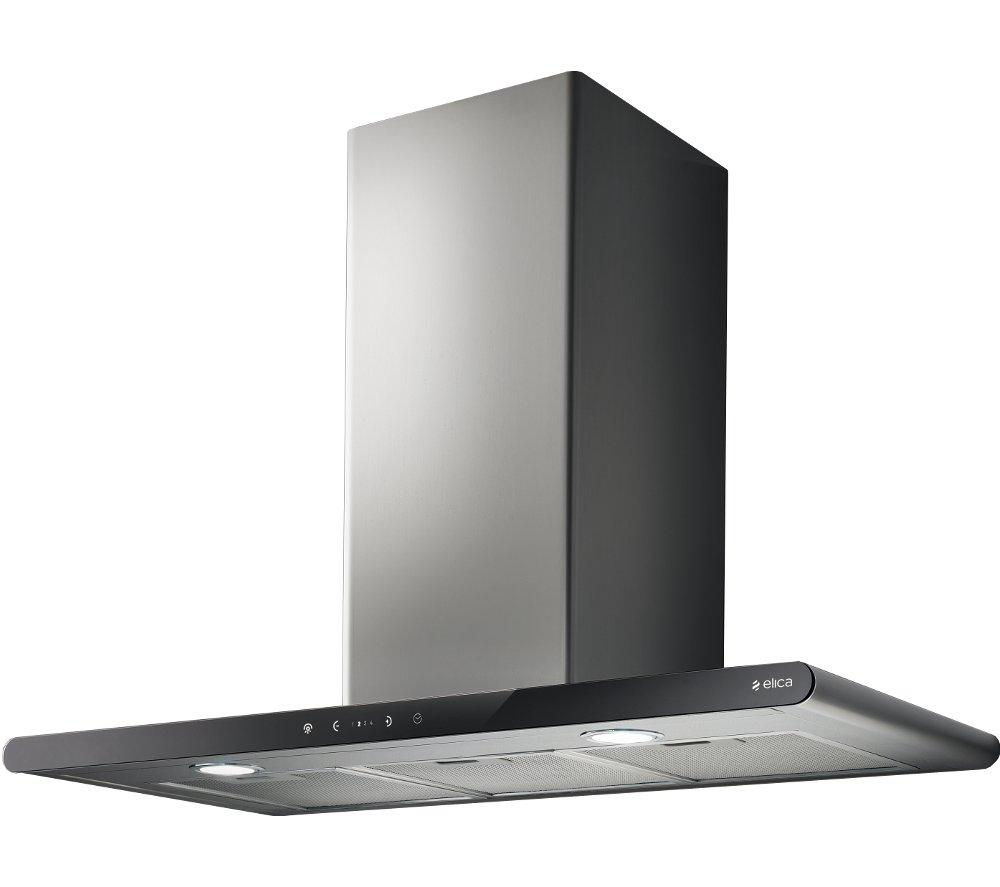 ELICA Galaxy Chimney Cooker Hood - Stainless Steel & Black Glass