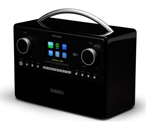 buy roberts stream93i dab clock radio black free delivery currys. Black Bedroom Furniture Sets. Home Design Ideas