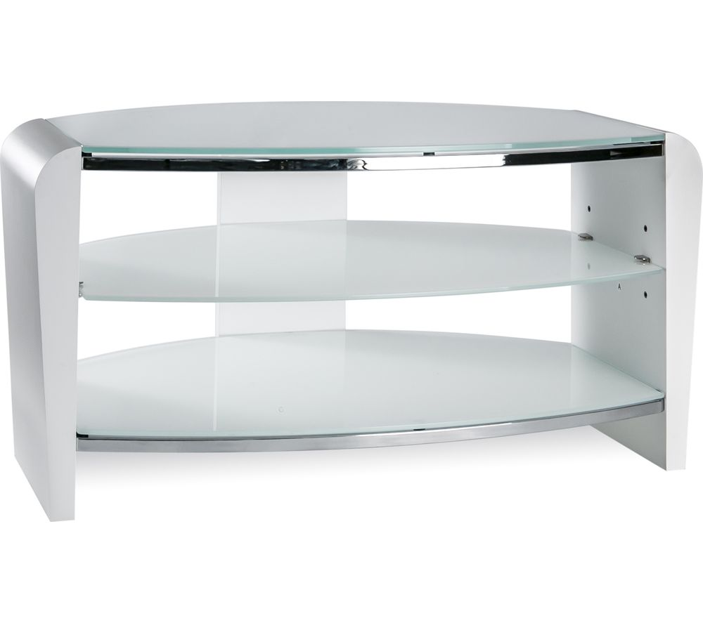 ALPHASON  Francium 800 TV Stand  White & White Glass White