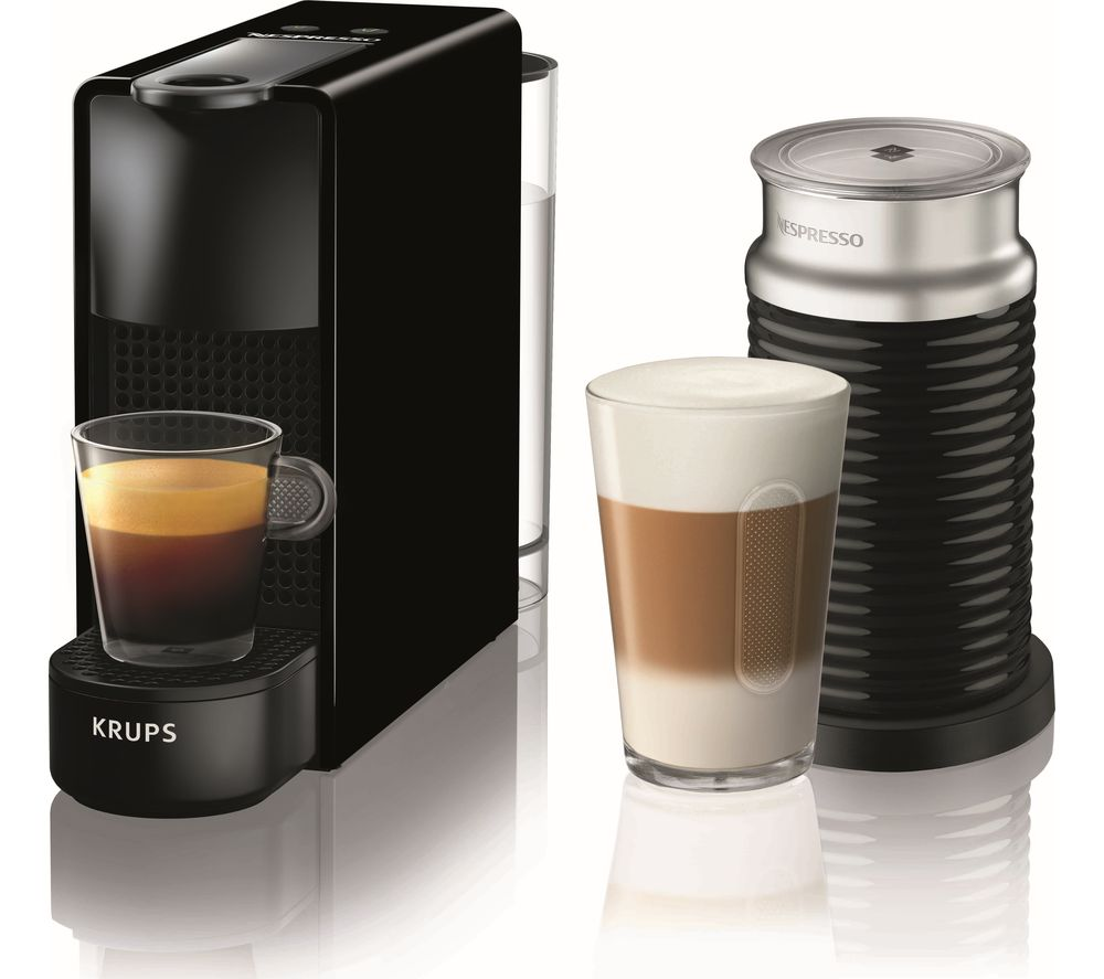 NESPRESSO by Krups Essenza Mini XN111840 Coffee Machine with Aeroccino  Black Black