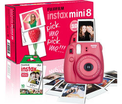 FUJIFILM Instax Mini 8 Instant Camera & 10 Shot Bundle - Raspberry