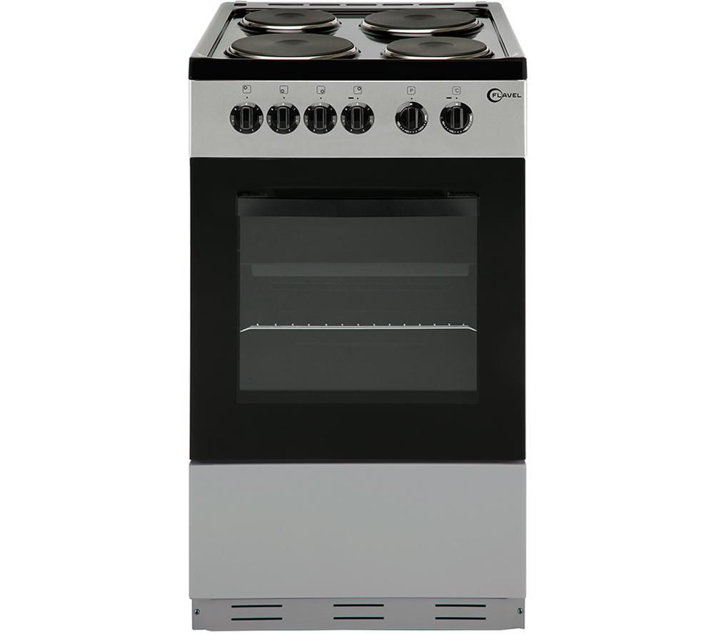 buy flavel fsbe50s 50 cm electric solid plate cooker silver black free delivery currys. Black Bedroom Furniture Sets. Home Design Ideas