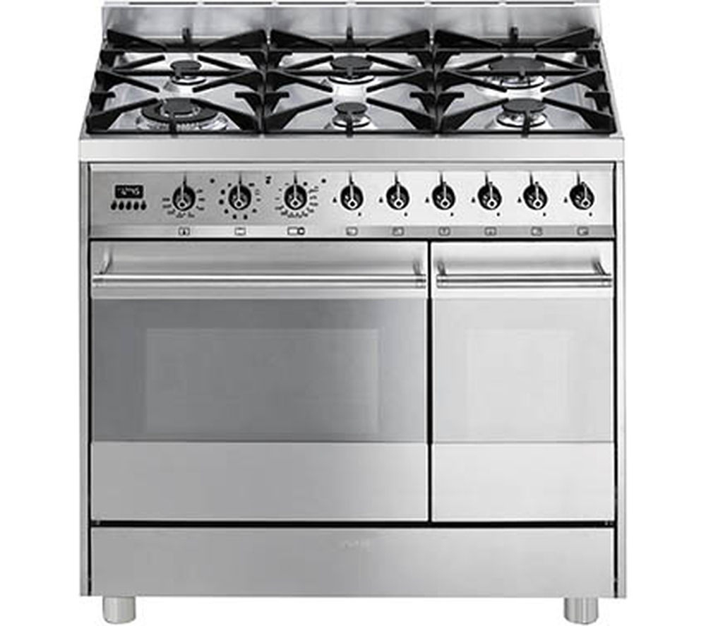 buy smeg c92gpx8 90 cm dual fuel range cooker stainless. Black Bedroom Furniture Sets. Home Design Ideas