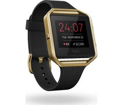 FITBIT Blaze Accessory Band - Slim Black & Gold, Large