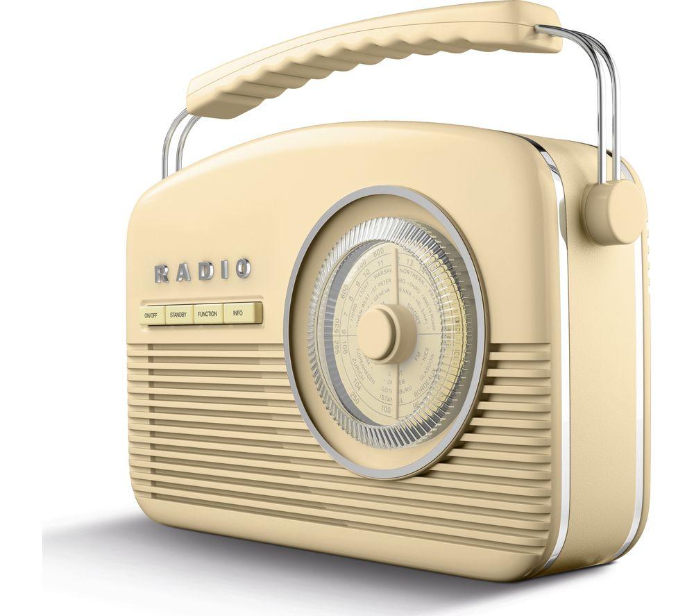 Image of AKAI A60010CDABBT Portable DABﱓ Retro Bluetooth Clock Radio - Cream, Cream