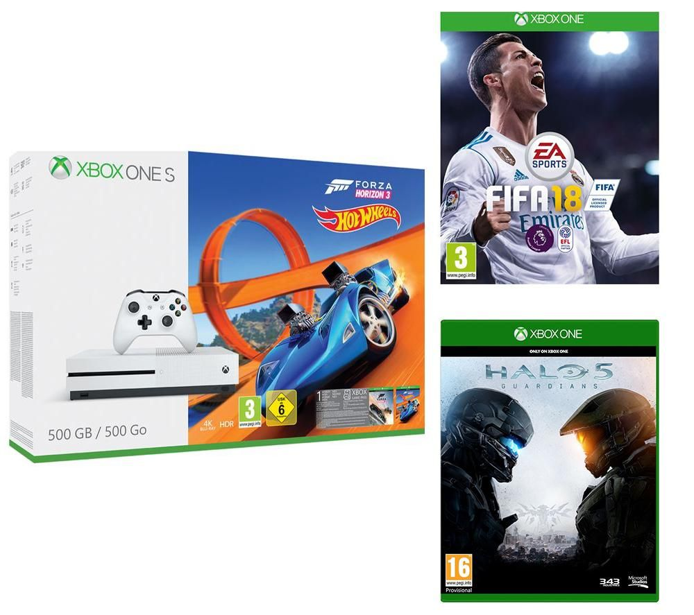 uk daily deals xbox one s 500gb forza 3 hot wheels bundle with fifa 18 and halo 5 guardians. Black Bedroom Furniture Sets. Home Design Ideas