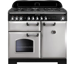 RANGEMASTER Classic Deluxe 100 Dual Fuel Range Cooker - Royal Pearl & Chrome