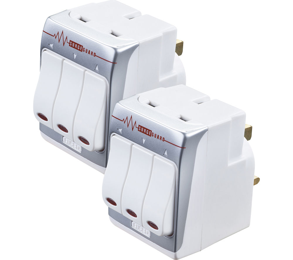 MASTERPLUG MSWRG3/2-MP Surge Protector 3-Socket Plug Adaptor - Twin Pack