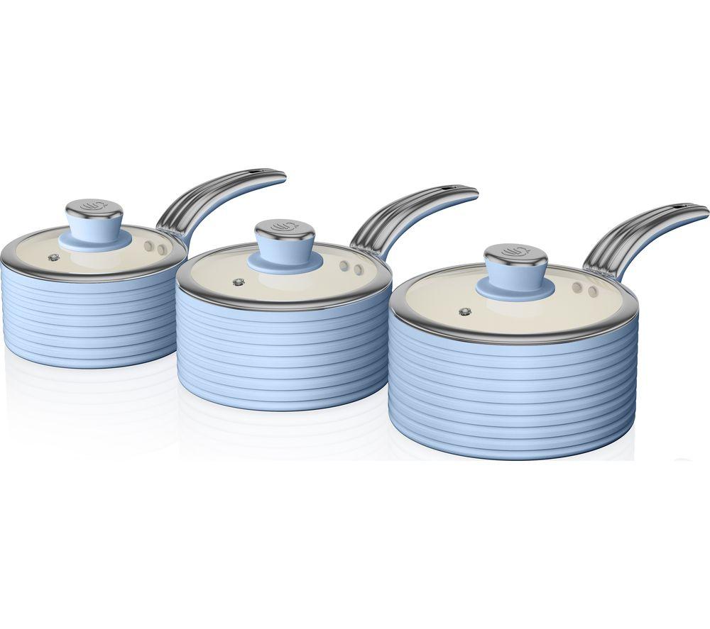 SWAN Retro SWPS3020BLN 3-piece Non-stick Saucepan Set - Blue