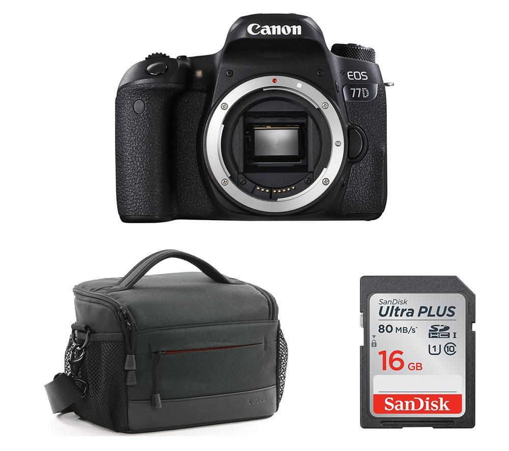 CANON EOS 77D DSLR Camera, Memory Card & Bag Bundle