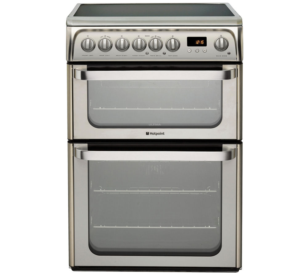 HOTPOINT HUE61XS Electric Ceramic Cooker - Stainless Steel