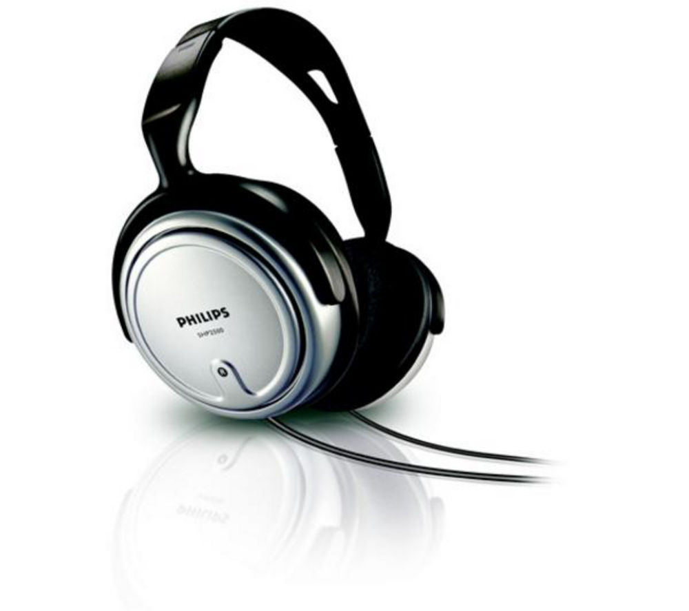 PHILIPS SHP2500 Headphones - Black + iPhone 7 Lightning to 3.5 mm Headphone Jack Adapter