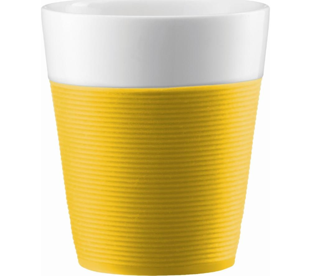 BODUM Bistro Porcelain Mug with Silicone Band - Yellow, Pack of 2