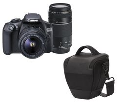 CANON EOS 1300D DSLR Camera with 18-55 mm DC III Zoom Lens and EF 75-300 mm f/4.0-5.6 III Telephoto Zoom Lens - Black