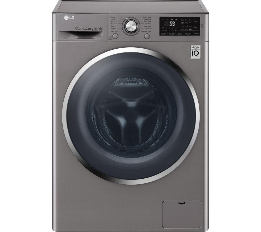 LG F4J6TN2S NFC 8 kg 1400 Spin Washing Machine - Shine Steel