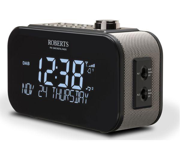 roberts ortus 3 dab fm clock radio black deals pc world. Black Bedroom Furniture Sets. Home Design Ideas