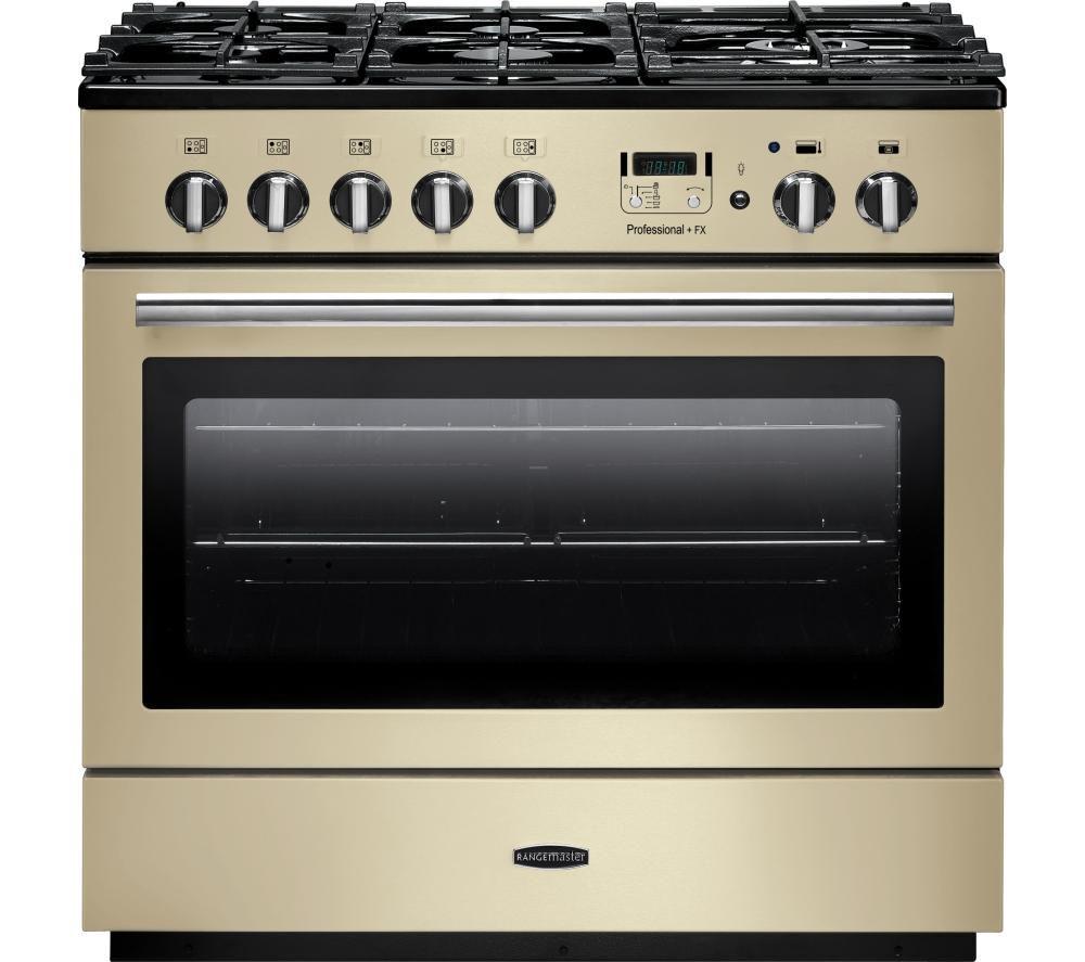 RANGEMASTER Professional+ FX 90 Dual Fuel Range Cooker - Cream & Chrome