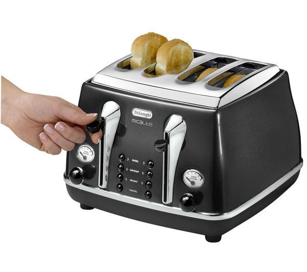 buy delonghi micalite ctom4003 4 slice toaster black free delivery currys. Black Bedroom Furniture Sets. Home Design Ideas