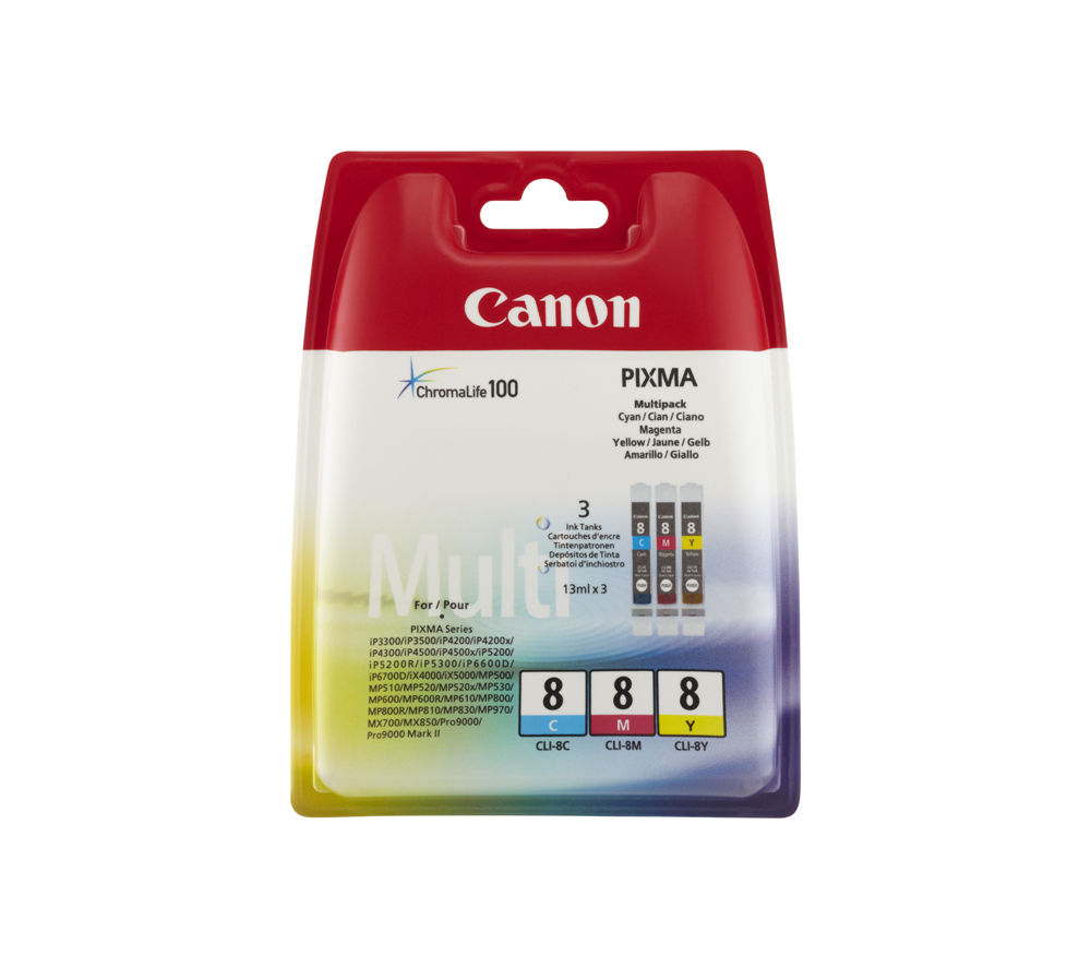 buy canon pixma cli 8 cyan magenta yellow ink cartridges multipack free delivery currys. Black Bedroom Furniture Sets. Home Design Ideas