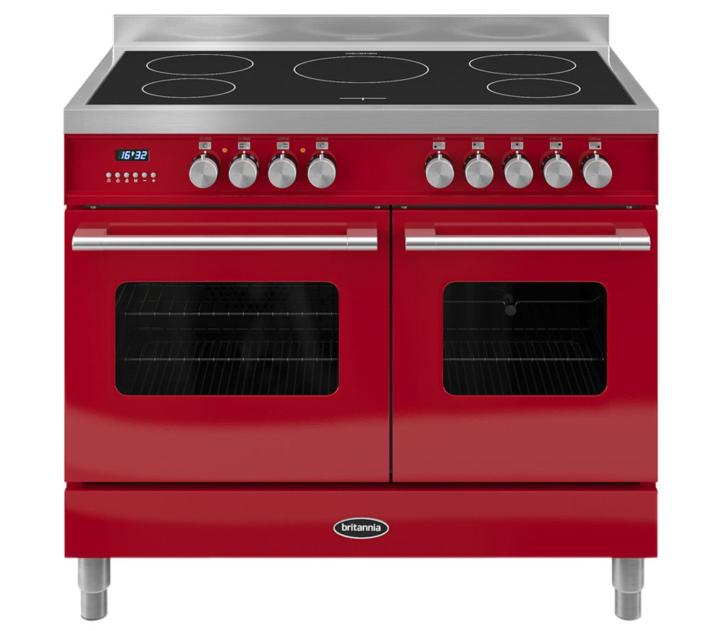 BRITANNIA Delphi 100 Twin Electric Induction Range Cooker - Gloss Red & Stainless Steel