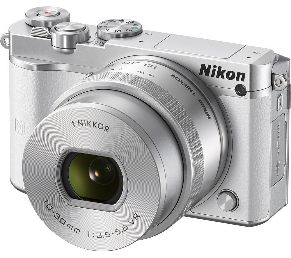 NIKON 1 J5 Mirrorless Camera with 10-30 mm f/3.5-5.6 Lens - White
