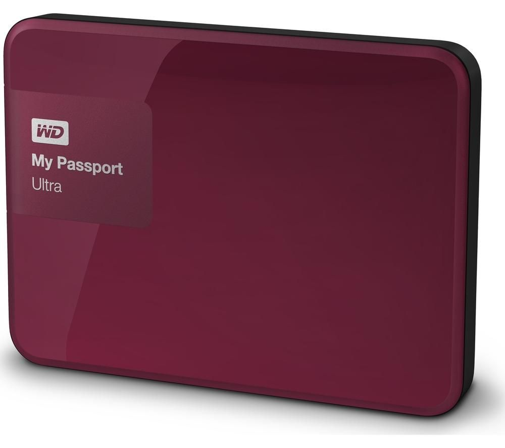 WD My Passport Ultra Exclusive Portable Hard Drive - 1 TB, Wild Berry