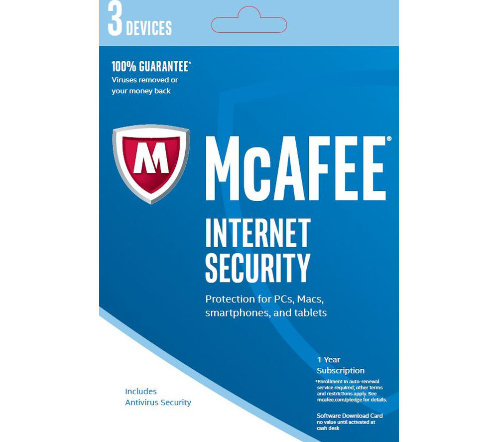 MCAFEE Internet Security 2016 - 3 users for 1 year