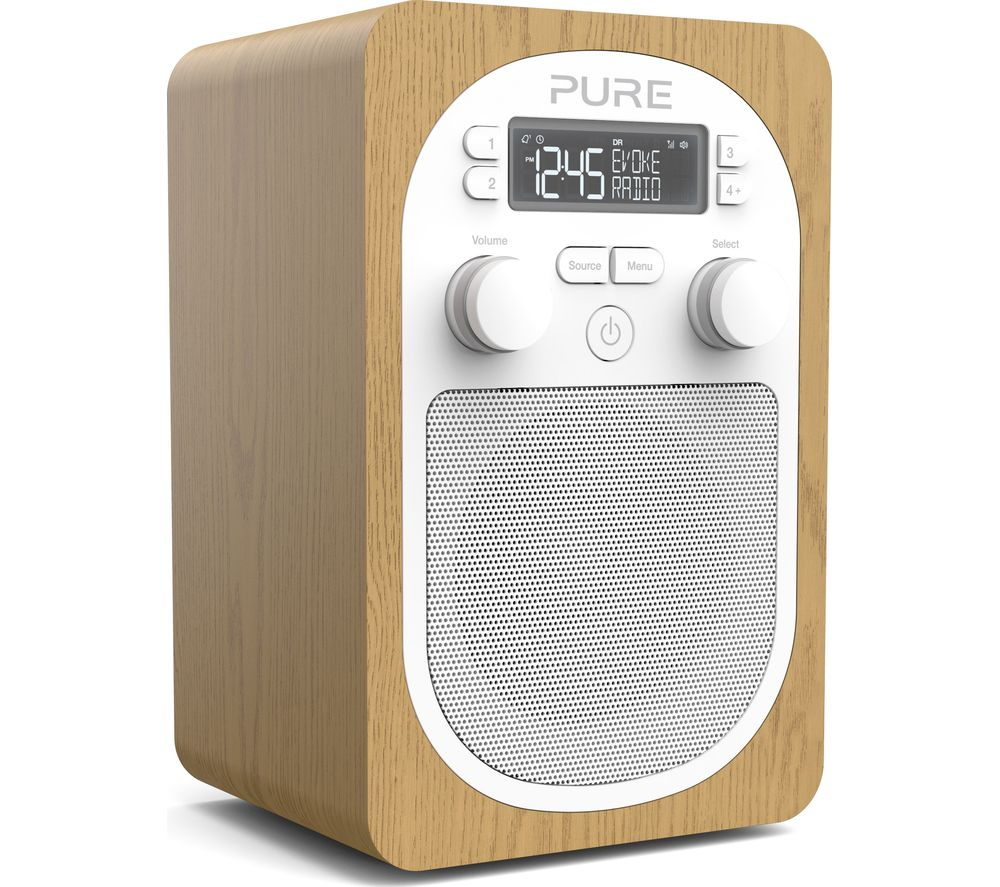 pure evoke h2 portable dab fm clock radio oak deals pc. Black Bedroom Furniture Sets. Home Design Ideas