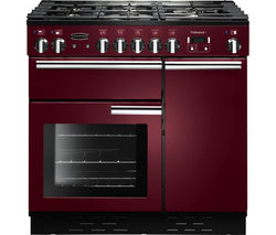 RANGEMASTER Professional+ 90 Dual Fuel Range Cooker - Cranberry & Chrome