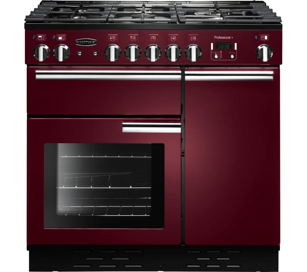 RANGEMASTER Professional+ 90 Dual Fuel Range Cooker - Cranberry & Chrome