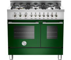 BERTAZZONI Professional 90 W906GEVVE Dual Fuel Range Cooker - Green & Stainless Steel