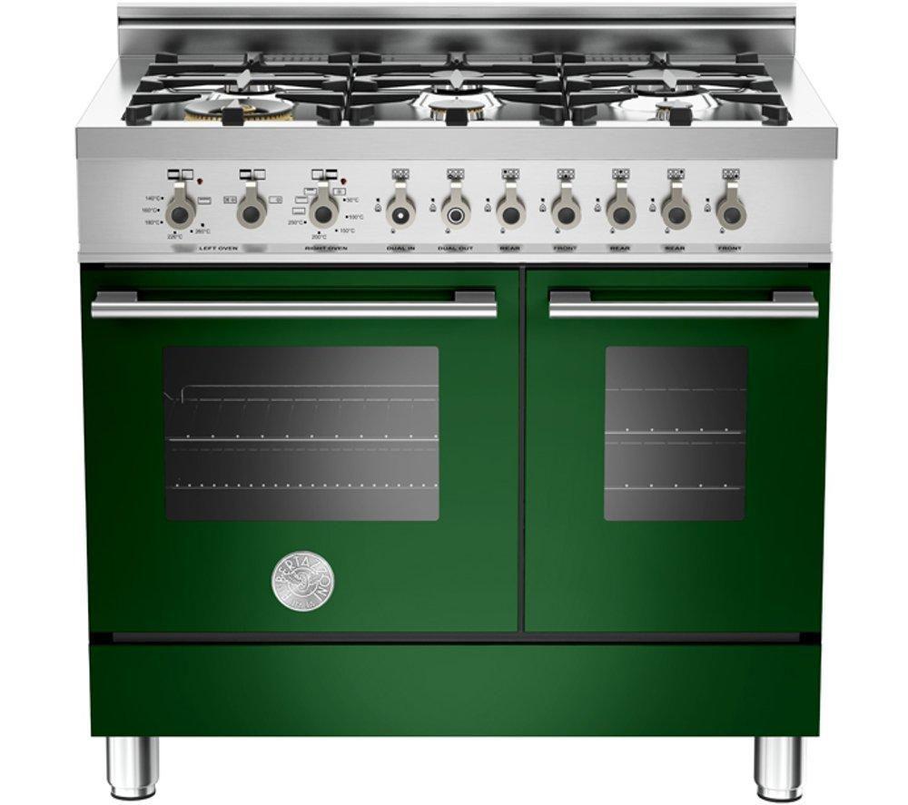 BERTAZZONI Professional 90 W906GEVVE Dual Fuel Range Cooker - Green & Stainless Steel