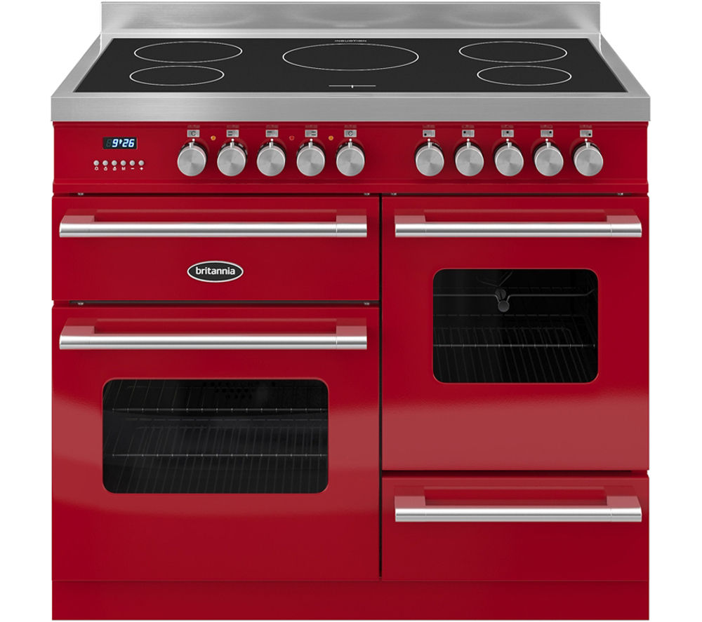 BRITANNIA Delphi 100 XG Electric Induction Range Cooker - Gloss Red & Stainless Steel