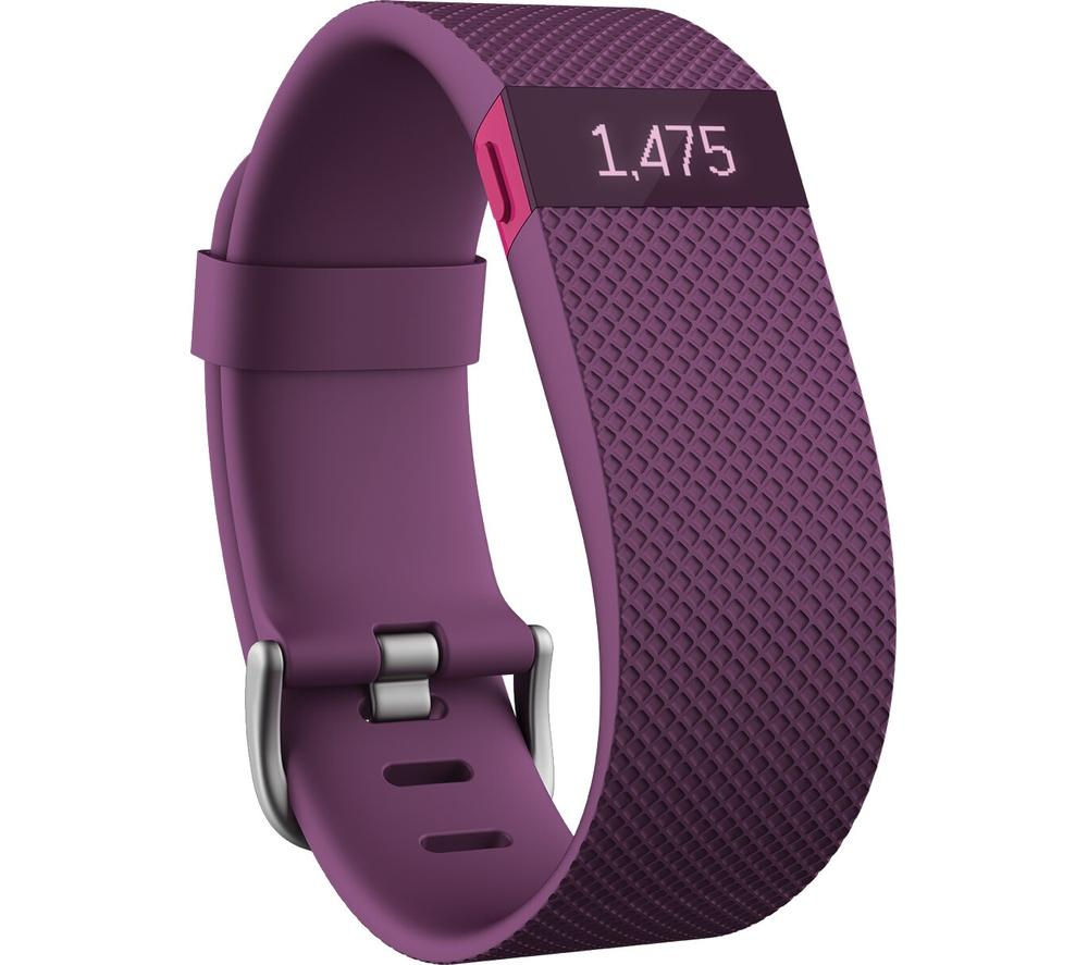 FITBIT Charge HR Fitness Band - Large, Plum