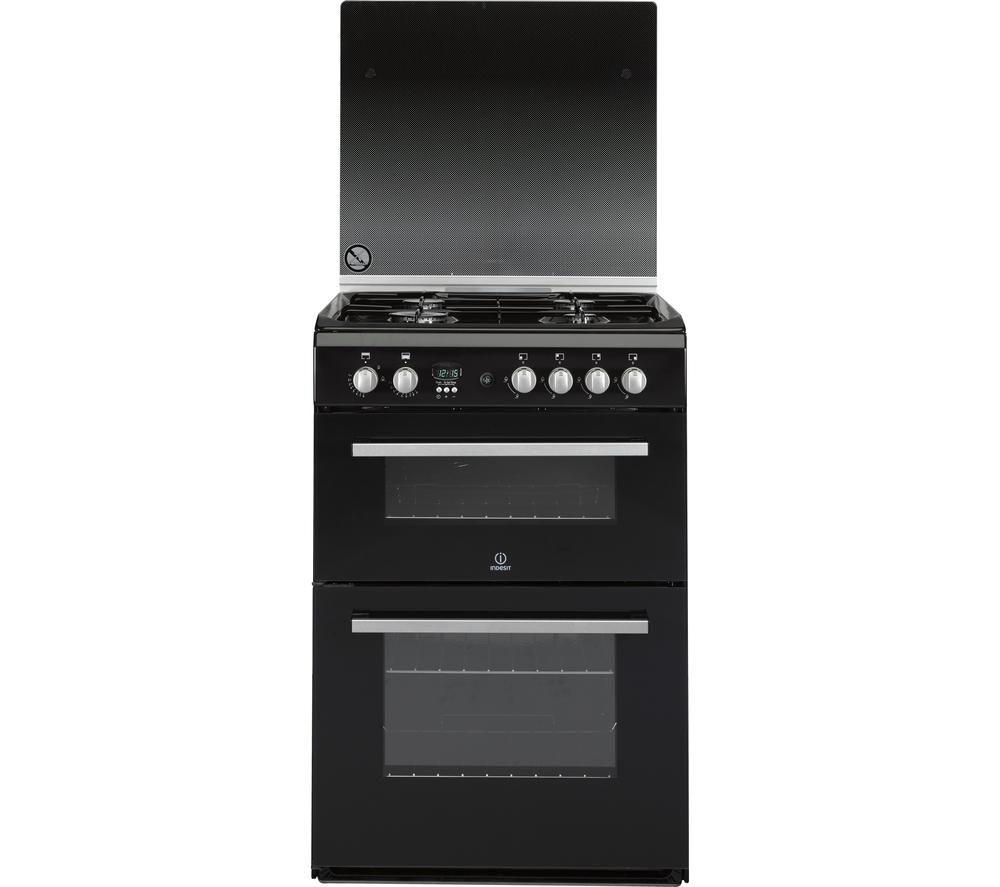 INDESIT DD60G2CGK 60 cm Gas Cooker - Black & Silver