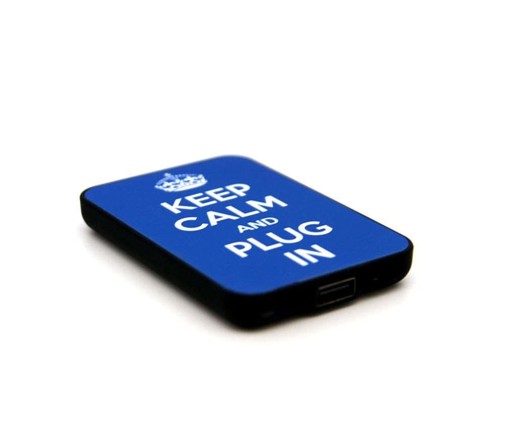 JACK & CABLES  Keep Calm and Plug In Portable Power Bank - Blue, Blue.