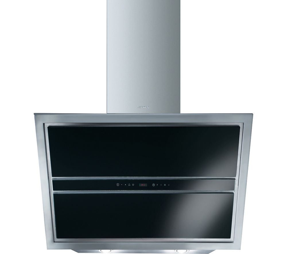 SMEG KCV9NE Chimney Cooker Hood - Stainless Steel & Black Glass