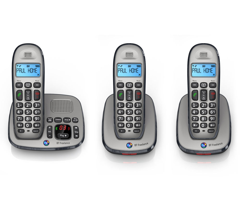 BT Freelance XD8500 Cordless Phone with Answering Machine - Triple Handsets