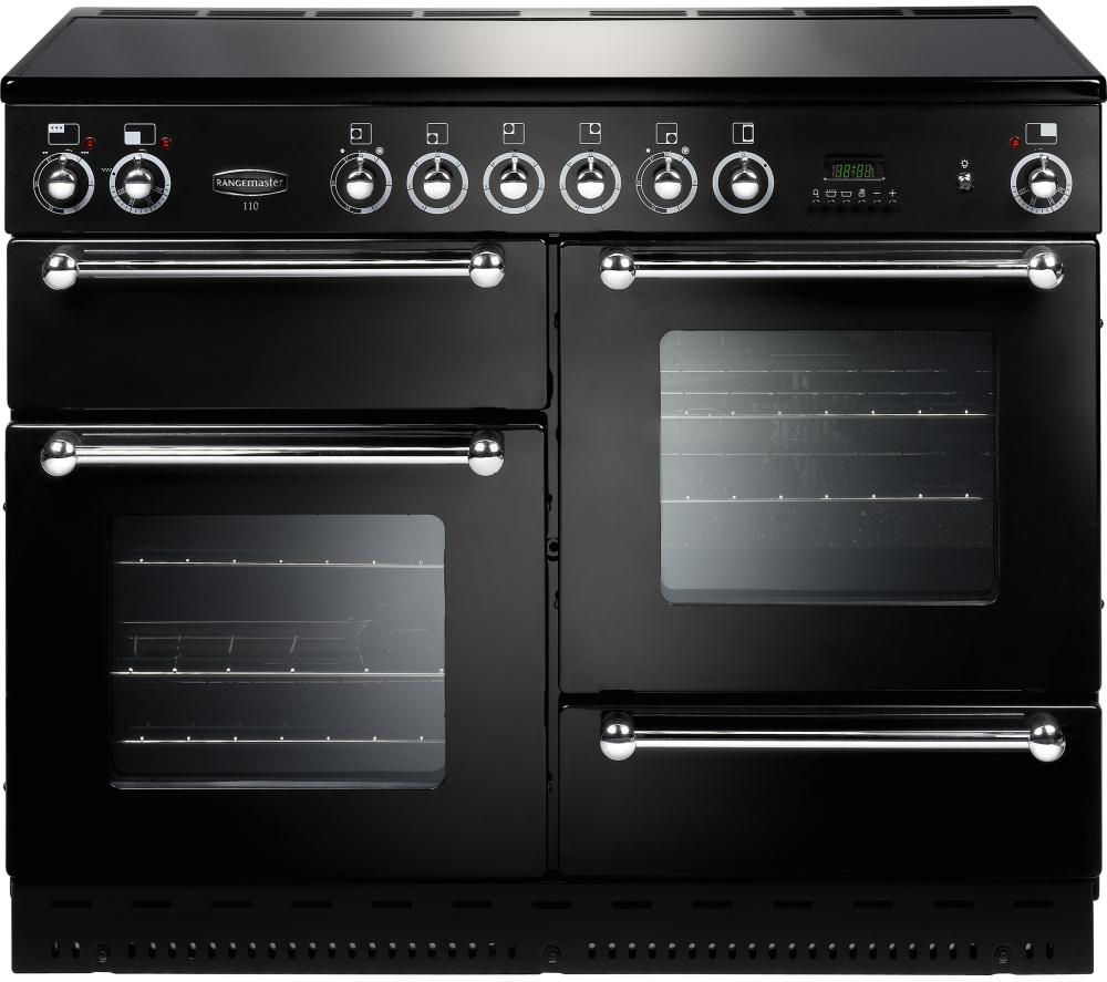 RANGEMASTER 110 Electric Ceramic Range Cooker - Black & Chrome