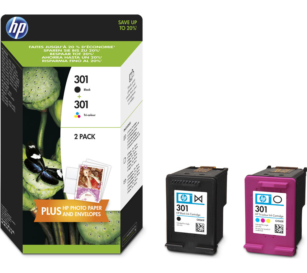2 Pack HP 301 Tri-colour & Black Ink Cartridges