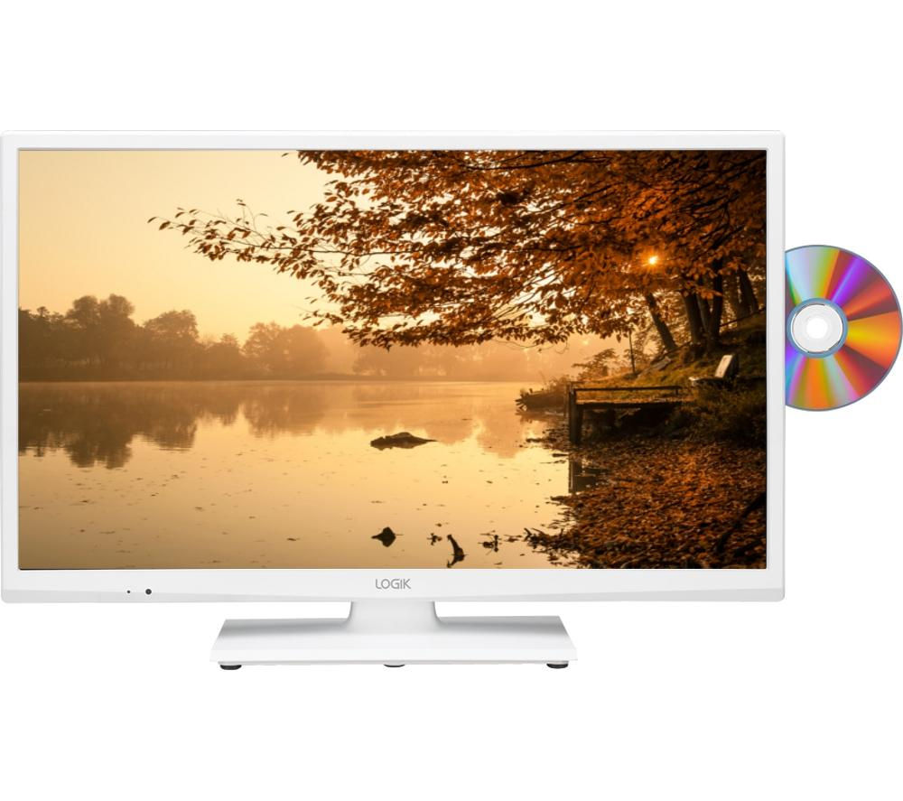 LOGIK  L24HEDW15 24 LED TV with Builtin DVD Player  White White