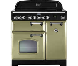 RANGEMASTER Classic Deluxe 90 Electric Induction Range Cooker - Olive Green & Chrome
