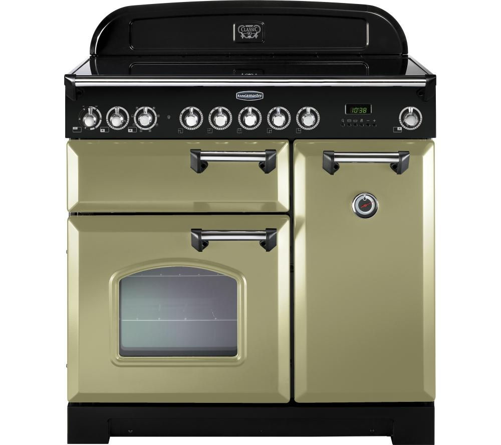 RANGEMASTER  Classic Deluxe 90 Electric Induction Range Cooker  Olive Green & Chrome Olive